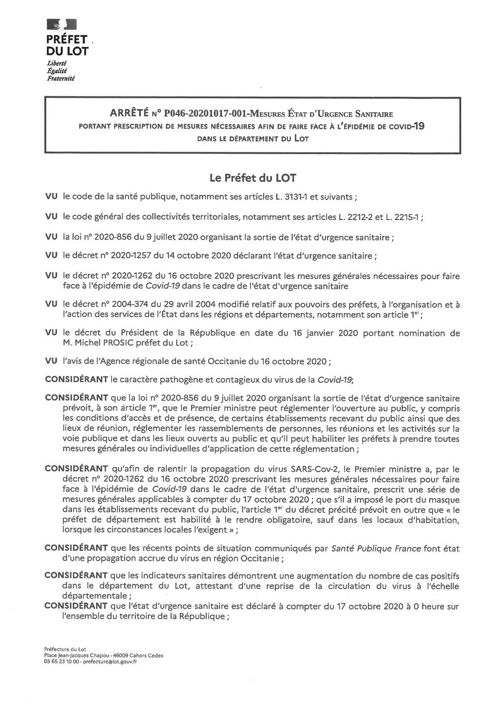 Arrété préfet 46 - 17-10-2020 mesures état d'urgence sanitaire
