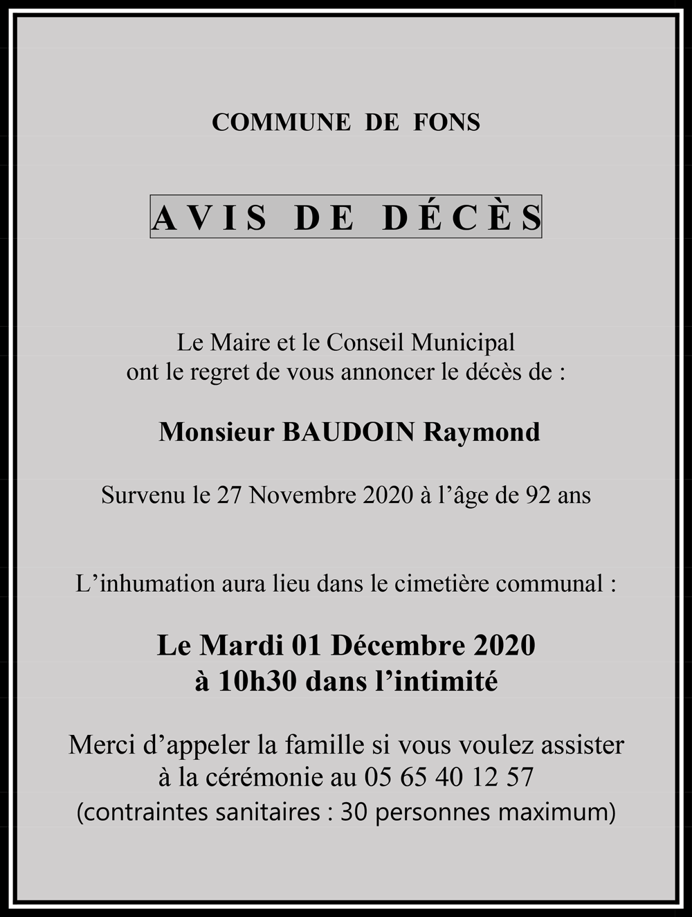 Avis de décès - Raymond Baudoin