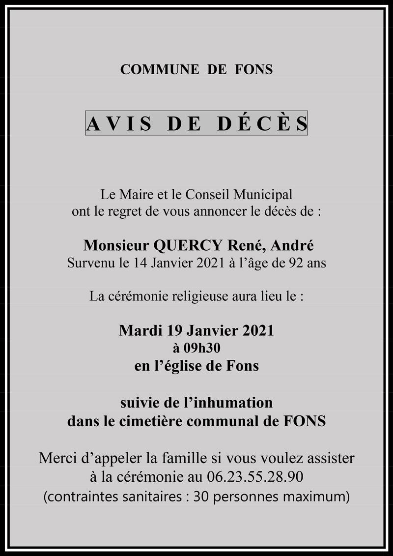 Décès de René Quercy