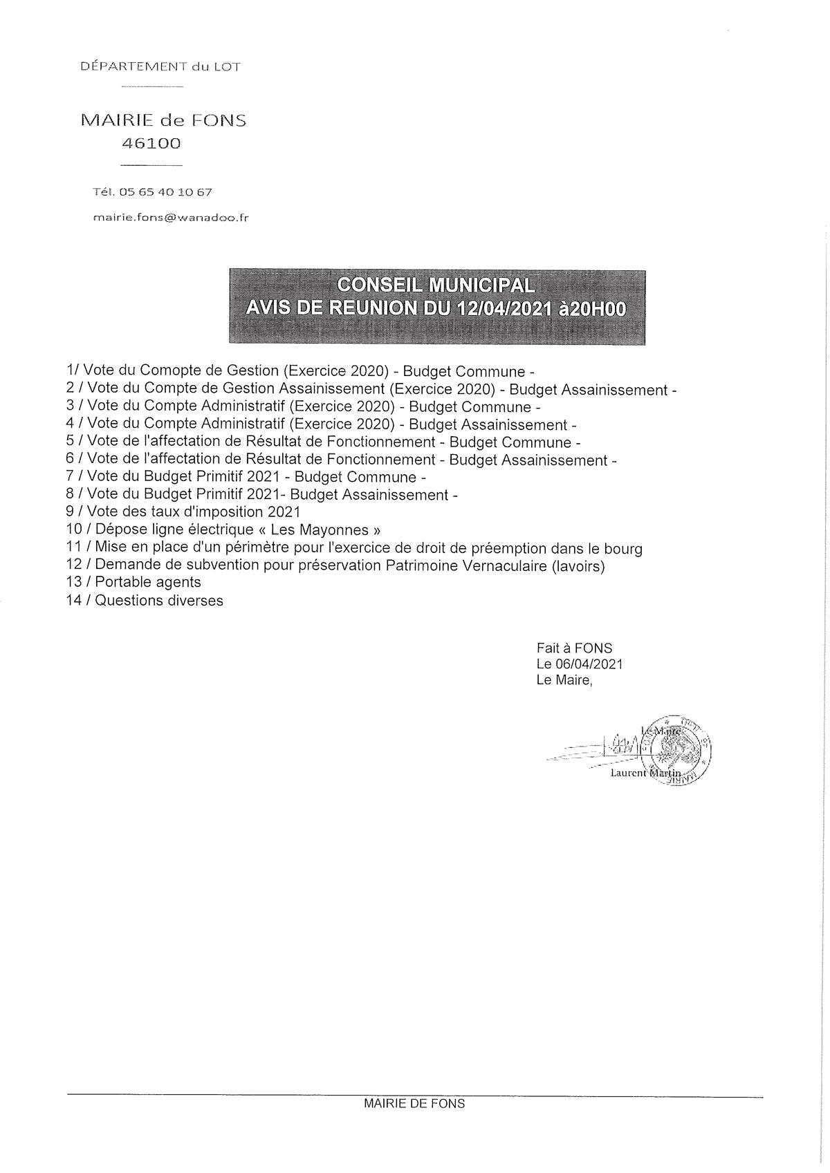 Réunion conseil municipal 12-04-2021