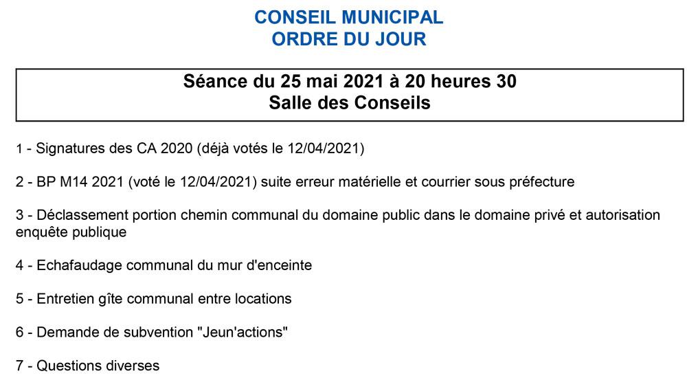 Ordre du jour conseil municipal