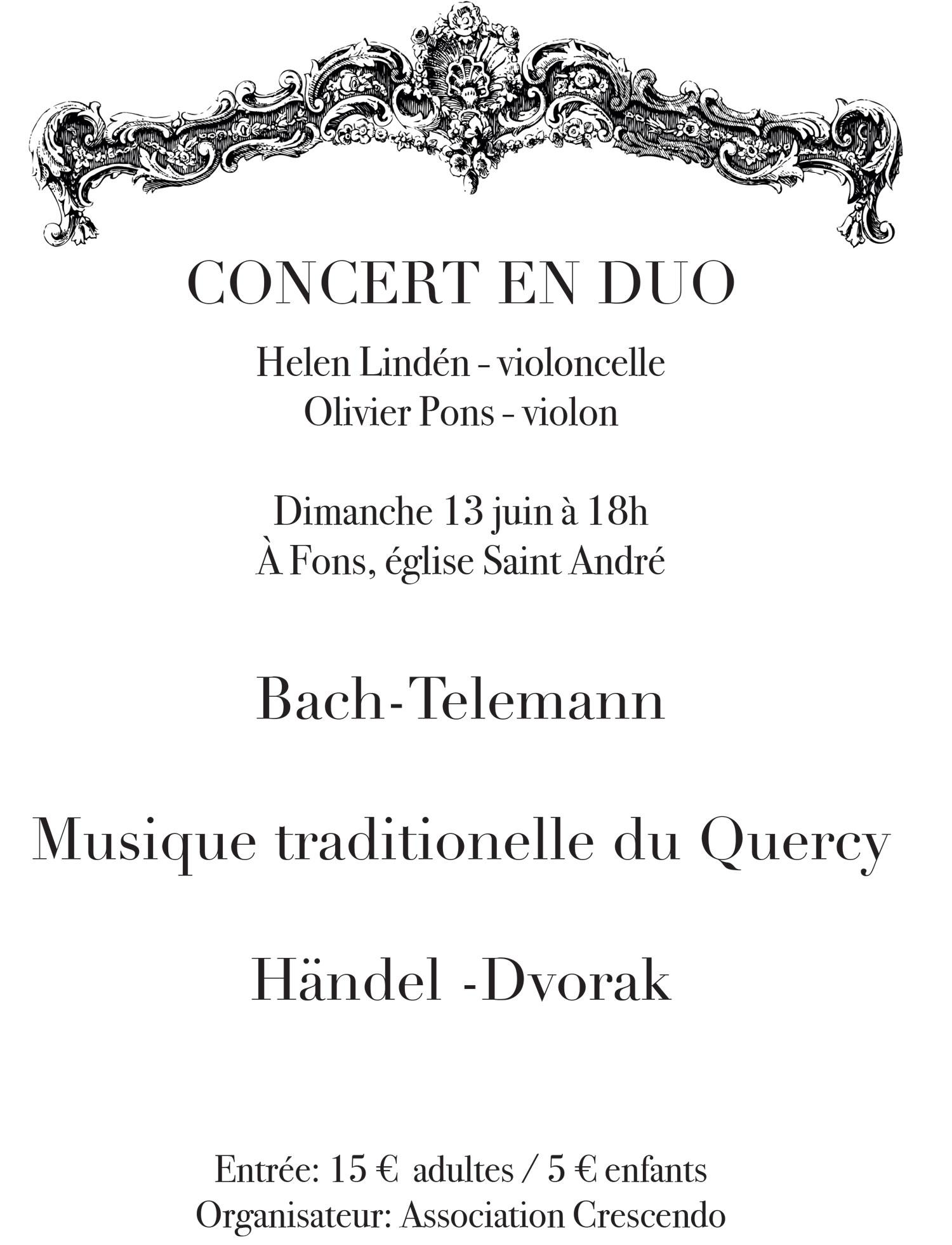 Concert en duo église Saint André à Fons